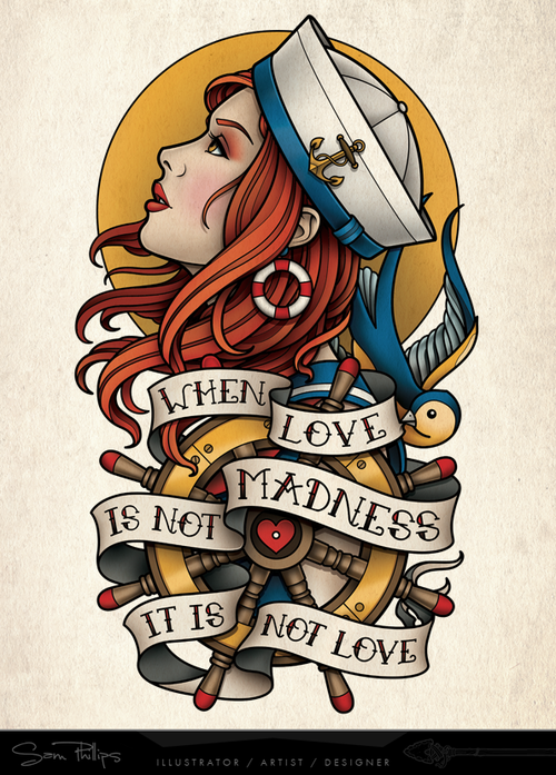 9159cb866 This is a sailor girl inner upper arm tattoo I designed for David Miller.  He wanted a design similar to the gypsy I designed for Erik Akervall, ...
