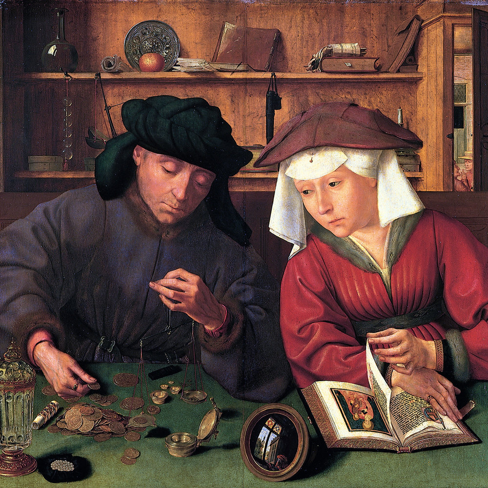 Quentin Metsys ,  The Moneylender and His Wife  (1514)