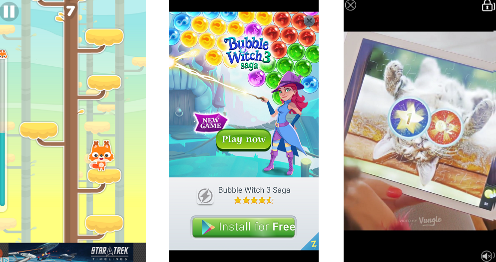 From Left to Right: Banner Ad, Interstitial Ad, and Rewarded Video Ad