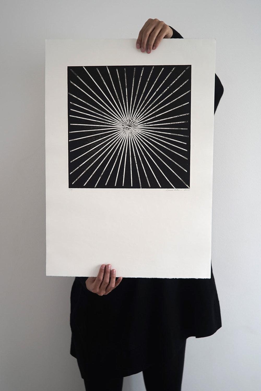 Collagraph handmade artprint - Exploding black - 50x70 cm