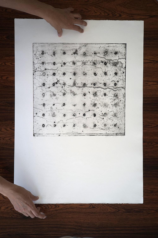 Collagraph handmade artprint - Falling - 50x70 cm