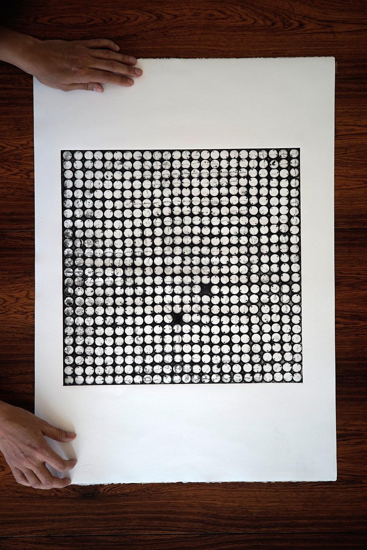 Collagraph handmade artprint - Paillettes - 50x70 cm