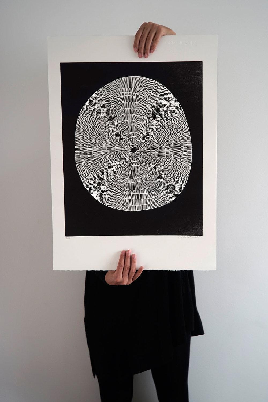 Beyond the middle, Linocut print 50x70cm