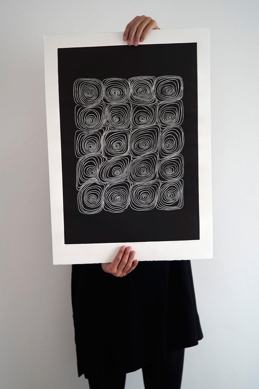 We were all born alike, Linocut print 50x70cm