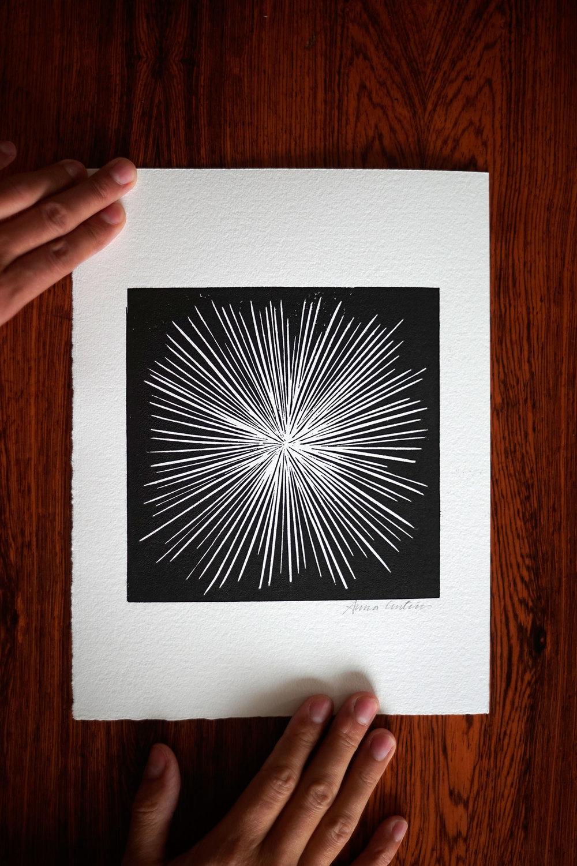 Exploding, lincut print 20x30cm
