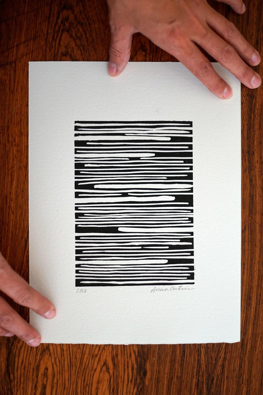Movement in balance, linocut print 20x30cm