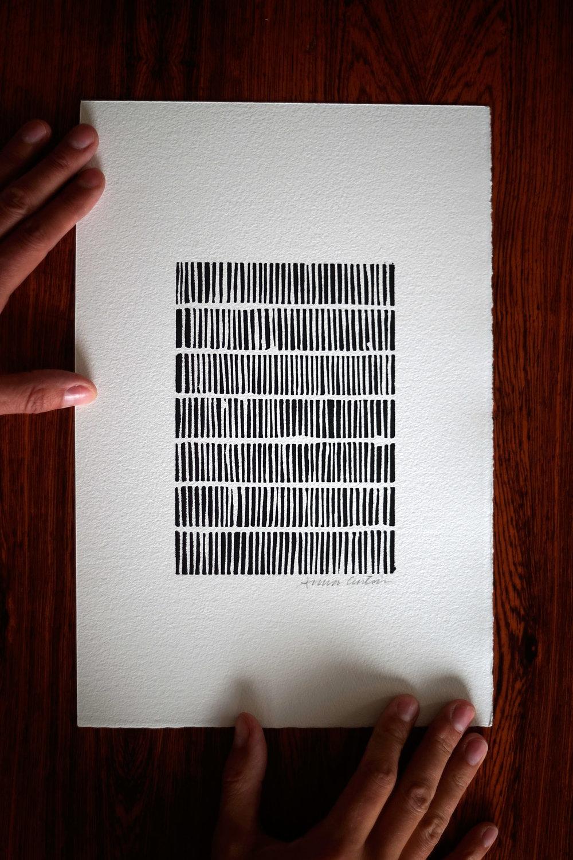 I am repeating, linocut print 20x30cm