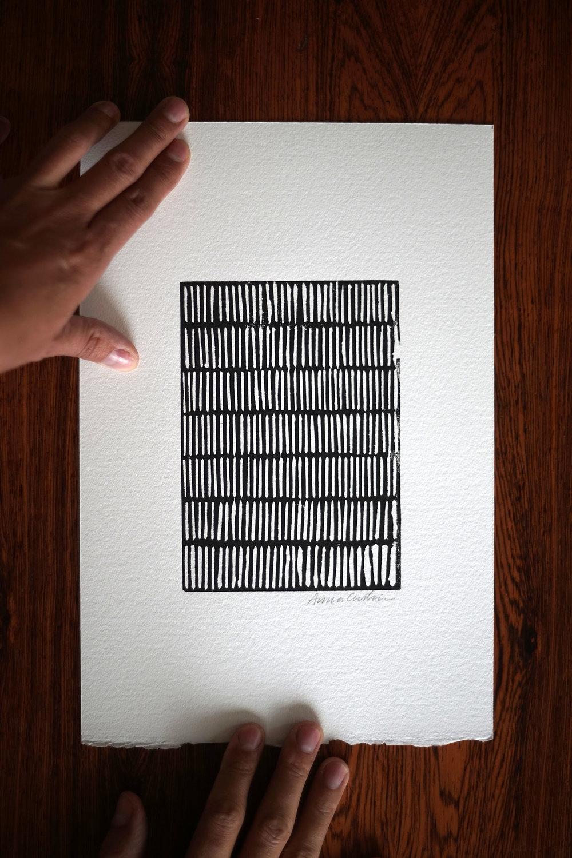 I am repeating again, linocut print 20x30cm