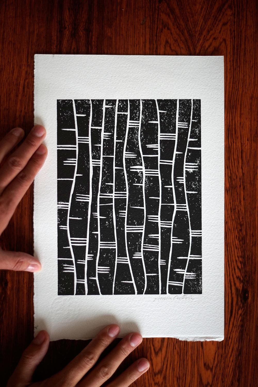 In between waves, linocut print 20x30cm