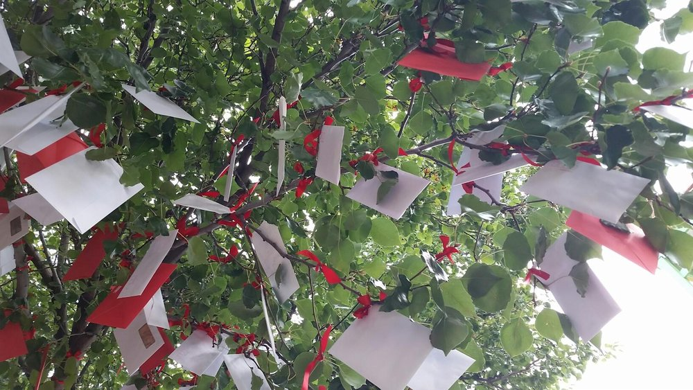 Christina Peek,  Keep your old love letters, throw away your old bank statements (detail),  400 hand written love letters, envelopes, red ribbon, dimensions variable.