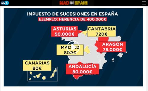 FUENTE: Telecinco - Mapa STOP IMPUESTO SUCESIONES -Mad in Spain: http://www.telecinco.es/madinspain/Atencion-propiedad-heredar-Andalucia-Canarias_2_2432355193.html
