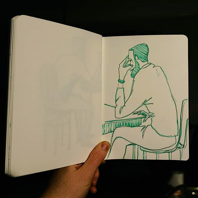 Sketching in a cafe on Camden St.  #drawingpeople #pencildrawing #fountainpen #quicksketch #sketchbook
