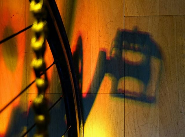 Bike + stained glass window.  #shadows #bicycle #light