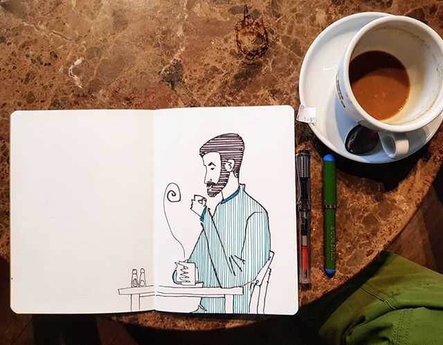 Drawing in a cafe.  #sketchbook #drawing #figuredrawing #characterdesign #quicksketch