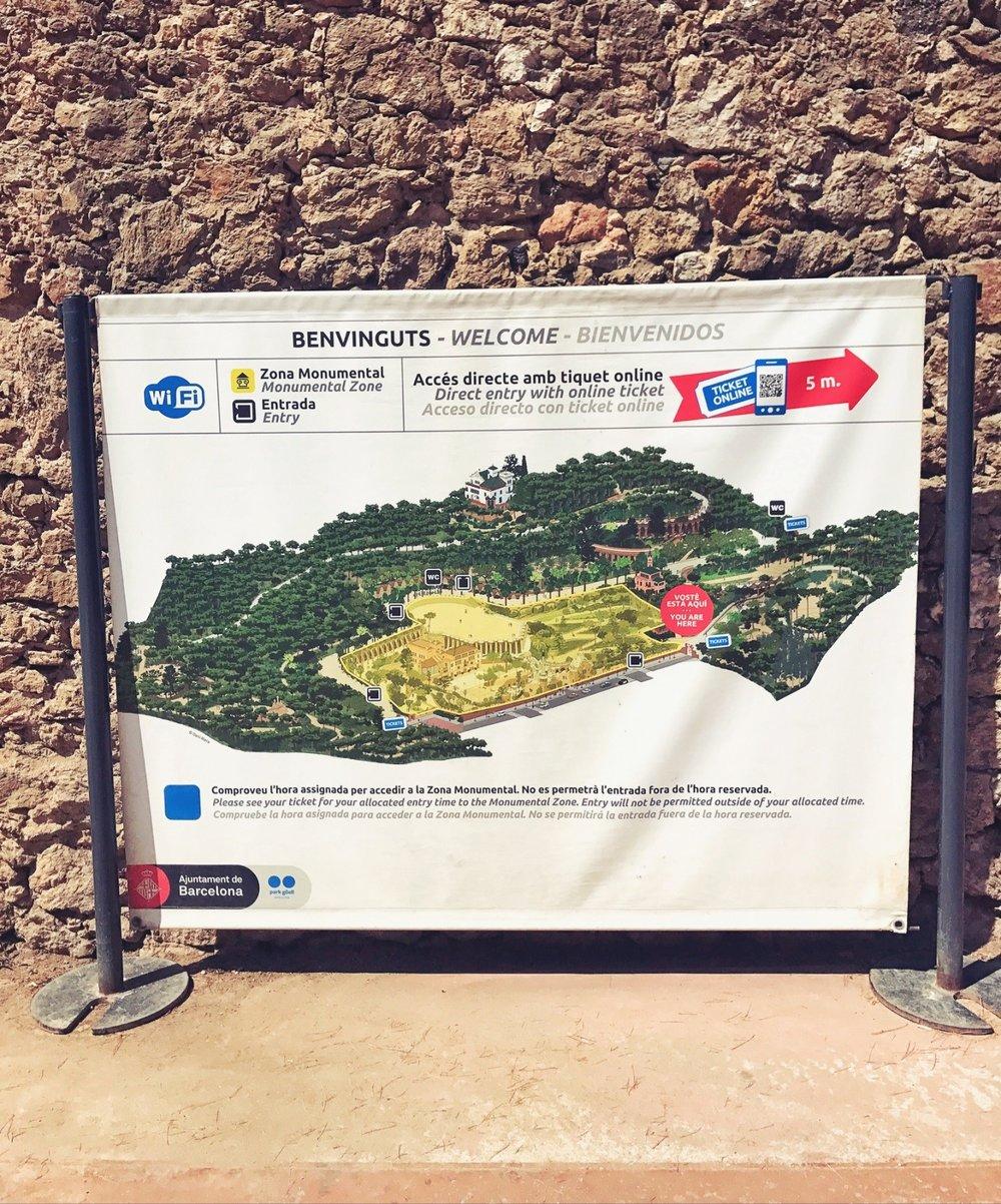 Karte Park Güell