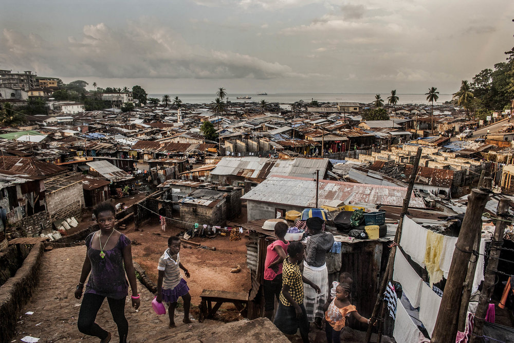 A look over the Kroo Bay neighborhood of Freetown, Sierra Leone. (Pete Muller/Prime for National Geographic)