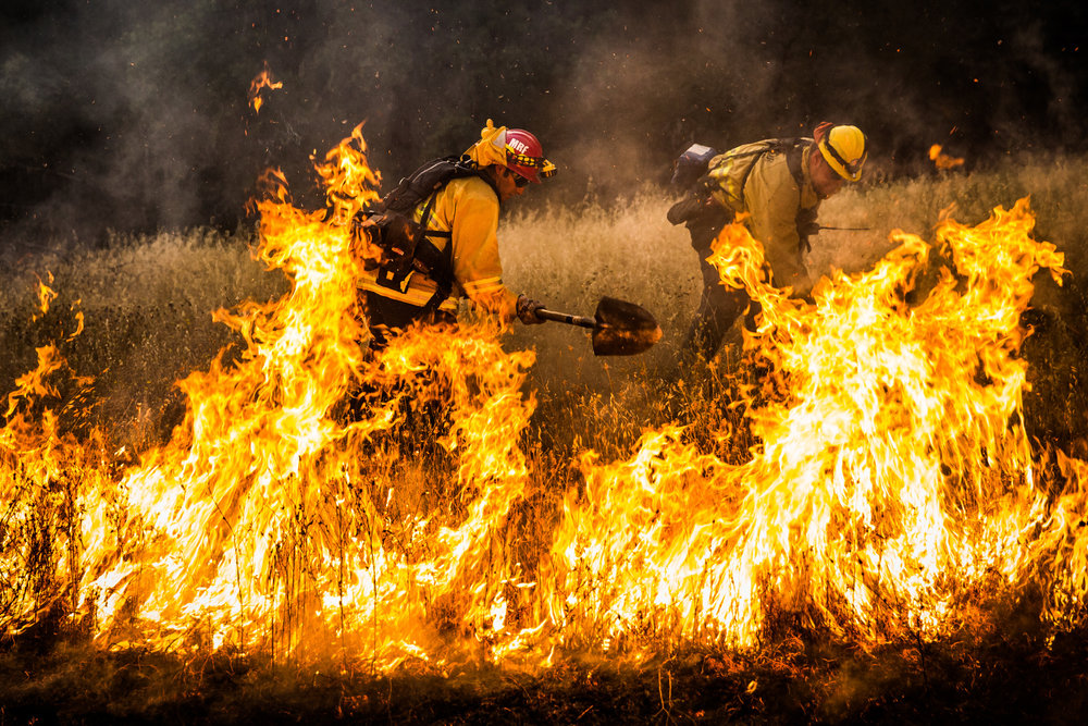 Firefighters dig a fire line around a spot fire on the Rocky Fire in Lake County, California on July 30, 2015. As of August 5, the fire had consumed 69,600 acres and is one of 23 wildfires burning in California.