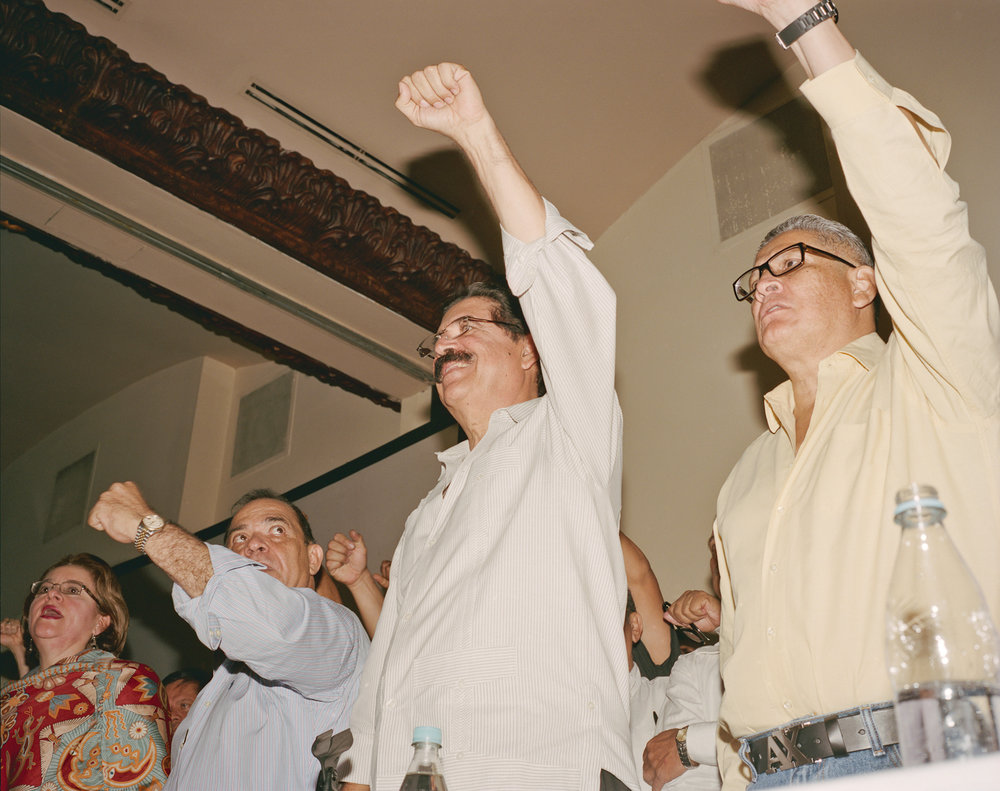 Ousted Honduran president Manuel Zelaya rallies leftist supporters during a press conference in Tegucigalpa.