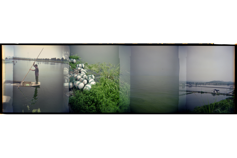 Sequence from left: A fish farmer working outside of Wuxi. Buoys near the Wu Jing Aquaculture Farm. The polluted waters of Taihu Lake. A fish farm at San Men Hu near Wuhan. (Dominic Bracco II / Prime for Mongabay)