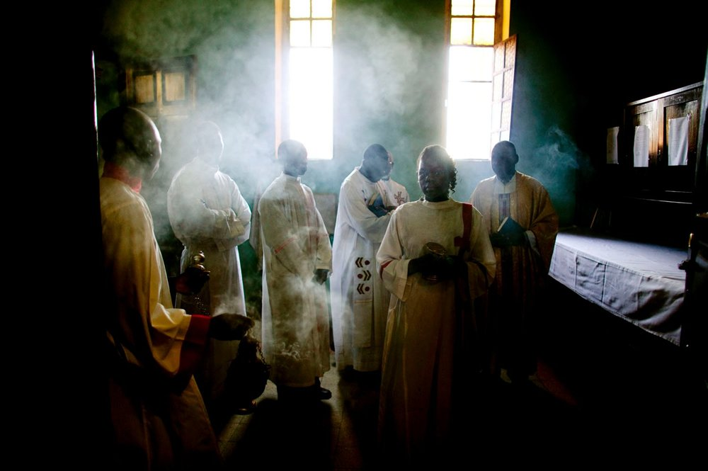 Southern Sudanese Catholics prepare for Easter mass in Wau, the south's second largest city. Christianity is a vital component of southern identity and was significant source of conflict between southern tribes and the northern, Islamic government in Khartoum. The north's historic imposition of Islamic law throughout the south was a grievance that helped to galvanize the southern liberation movement.