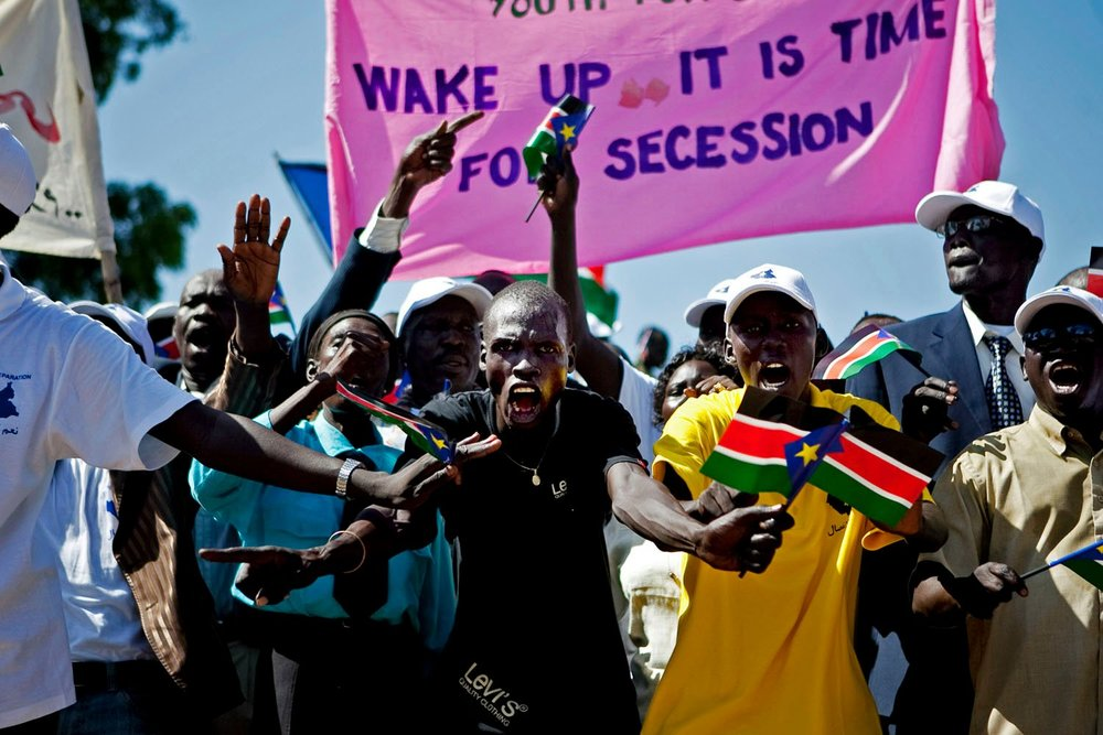 Southern Sudanese youth rally for secession in the capital city of Juba. Throughout 2010, youth movements campaigned heavily to bolster support for southern independence in the lead up to a referendum in January 2011.