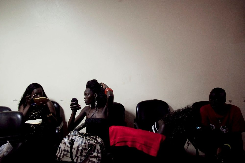 Southern women prepare to compete in the annual Miss New Sudan beauty pageant in Juba. The annual event is attended largely by members of southern Sudan's emerging business and political elites.
