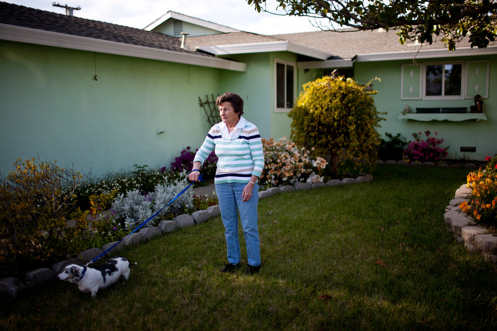Carol Couts poses for a portrait at the Yuba City, California home that she'll be evicted from after owning it for over 30 years.