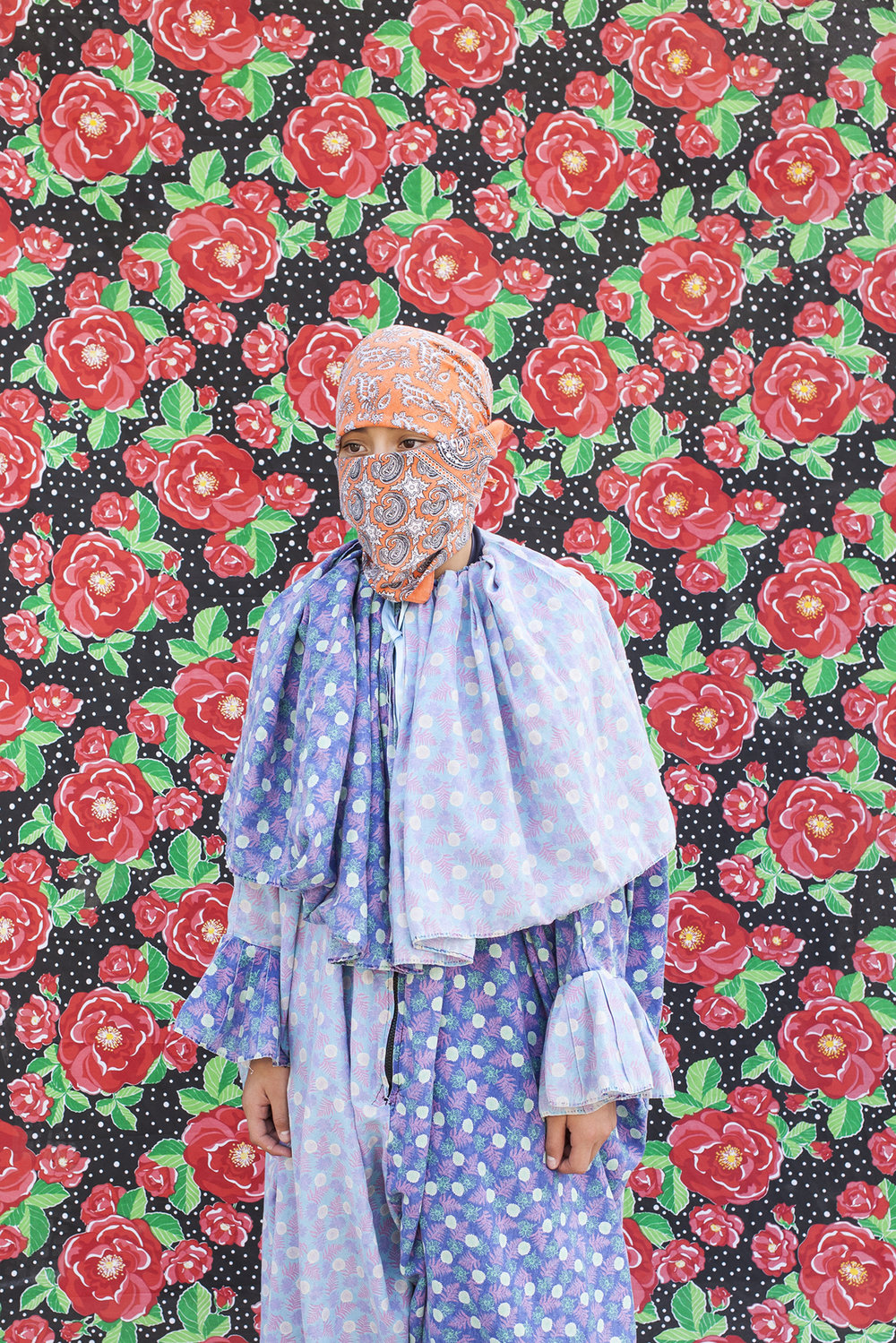 """Portrait of Claudio. The use of the handkerchief is also typical. They do it to reveal even less of their identity, and wear it under the mask. From the gang """"Cuadrilla de Juquilita"""", Coatepec, Veracruz, Mexico, 2016."""