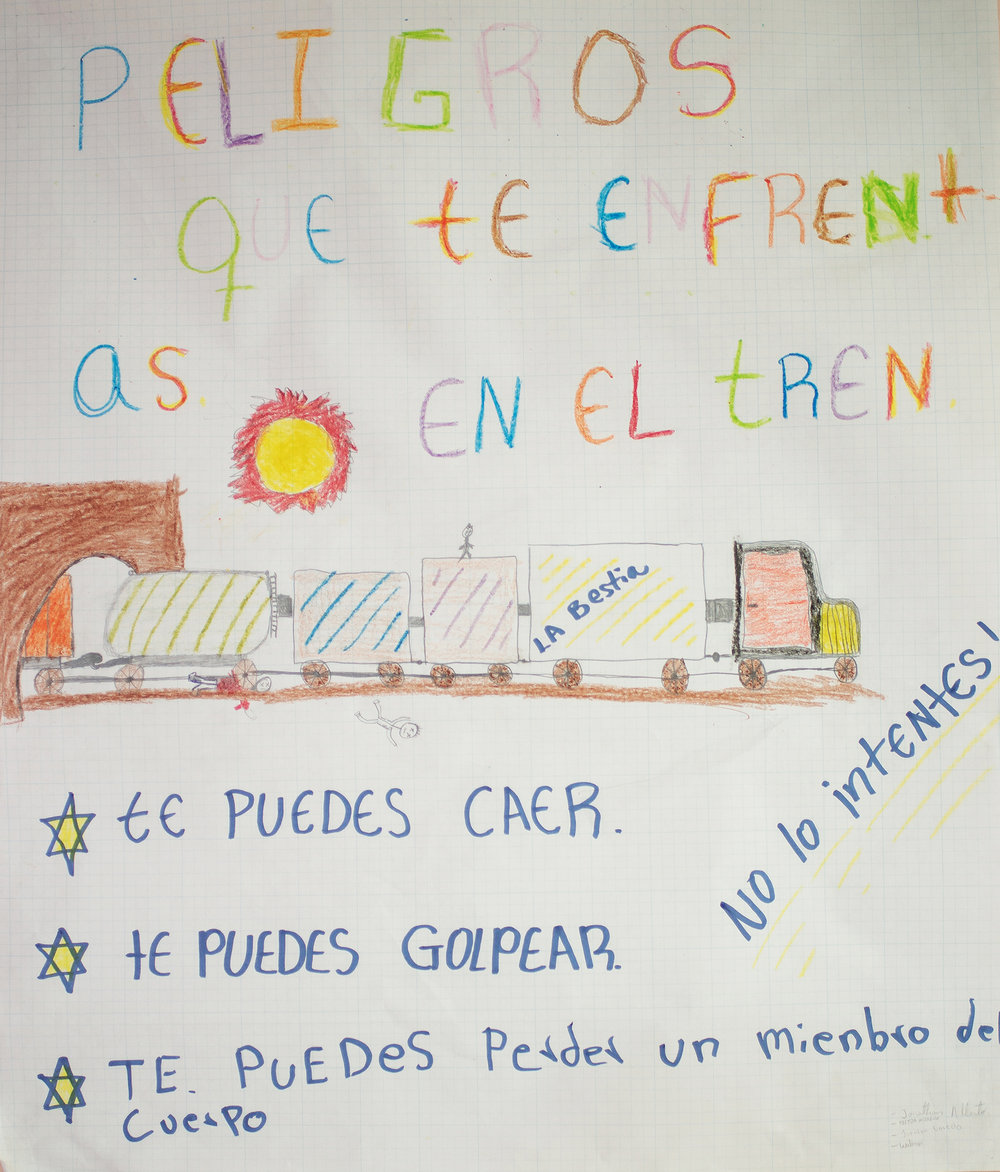 "Drawing that can be found in the CAMEF (Border Minors Service Center) about the dangers of traveling on the Train The Beast. It reads: ""hazards you face on the train: you can fall, you can get hit, you can loose a part of your body. Do not try."". The purpose of CAMEF is to offer 24-hour assistance to migrant or repatriated children, providing shelter, food, medical care and other supports. Nuevo Laredo, Tamaulipas, Mexico. June 24rd, 2018. Photographer: Luján Agusti."