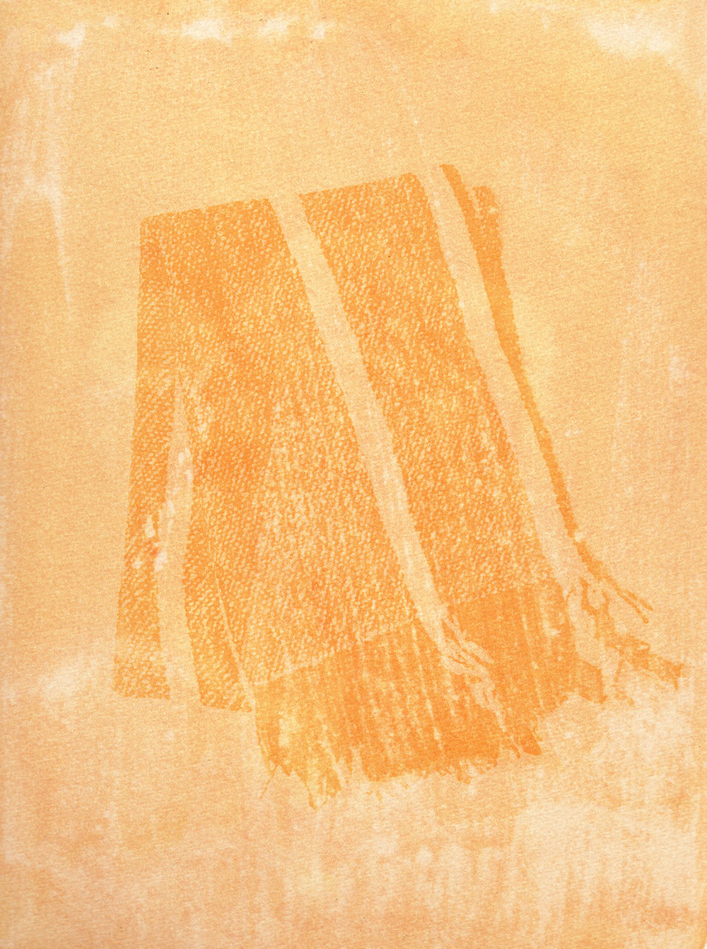 """Detail of a scarf made by the """"Hilanderas del Fin del Mundo"""", a group of women dedicated to retake traditions of embroidery and weaving by invoking local production against the advance of imports using natural raw materials produced in the island. Scan of an Anthotype made with natural dyes created with Turmeric. Photographer: Luján Agusti. Tierra del Fuego. April 15th, 2018"""