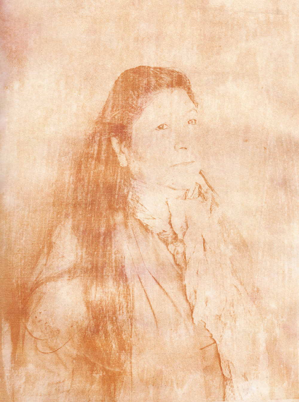 """Portrait of Patricia Lamas, weaver and member of """"Hilanderas del Fin del Mundo"""", a group of women dedicated to retake traditions of embroidery and weaving by invoking local production against the advance of imports using natural raw materials produced in the island. Anthotype scan made with natural dyes made with a mixture of roots of local plants such as Lupino, Calafate and Turmeric. Photographer: Luján Agusti. Tierra del Fuego. April 15th, 2018"""