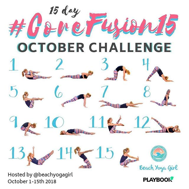October Challenge is kicking off with  @beachyogagirl .. check it out!! 👇👇 ・・・ 💫Announcing the 15 day October CORE Challenge!💫 #CoreFusion15 Host: @beachyogagirl  October 1-15th ⠀  As you know, I LOVE CORE WORK, so I have put together a FREE challenge for you! This challenge fuses my love for Pilates, Yoga, and functional movement. Did you know your core is more than just your abs? And having a strong core can help lower stress hormones, anxiety, and depression? YES! ⠀  I have put together 15 Core Fusion videos on my Playbook app totally FREE, so you can learn and get excited about strengthening your core! I also am raffeling some pretty amazing prizes (SWIPE LEFT⏪) for those that participate! ⠀  Ready to join me in getting a strong core? ⠀  Just download my @playbookapp and practice along with me each day of the challenge! Playbook is for iOS only currently, but don't worry Android users, give me your email and I'll send you the videos! ⠀ 👉🏻Links in my profile! ⠀  Directions to participate/qualify for the raffle: ⠀  1️⃣Follow me @beachyogagirl and my generous sponsors: ⠀  @playbookapp - $300 in CASH prizes! @liforme - Alignment Yoga Mat $140 Value. @miamifitwear - Yoga leggings $90 value. ⠀  2️⃣Repost this collage on your page, stories and TAG some friends who you'd think would love this! ⠀  3️⃣Participate daily by posting anything you wish! ⠀  4️⃣TAG #corefusion15 and @beachyogagirl in your daily challenge posts. ⠀  WHO'S IN? 🙋🏼‍♀️ — #challenge #challenger #coreworkout #corechallenge #abschallenge #yogachallenge #checkitout