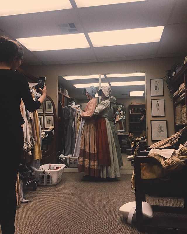 Our amazing costume designer Gabrielle Levion, came up with the iconic 1848 wardrobe for our pioneers, Mattie and Cora- @lady.dianalynne @biancarusu #womeninfilm #femalefilmmakers #femalefilmmakerfriday #slmbrprty #pioneersfilm