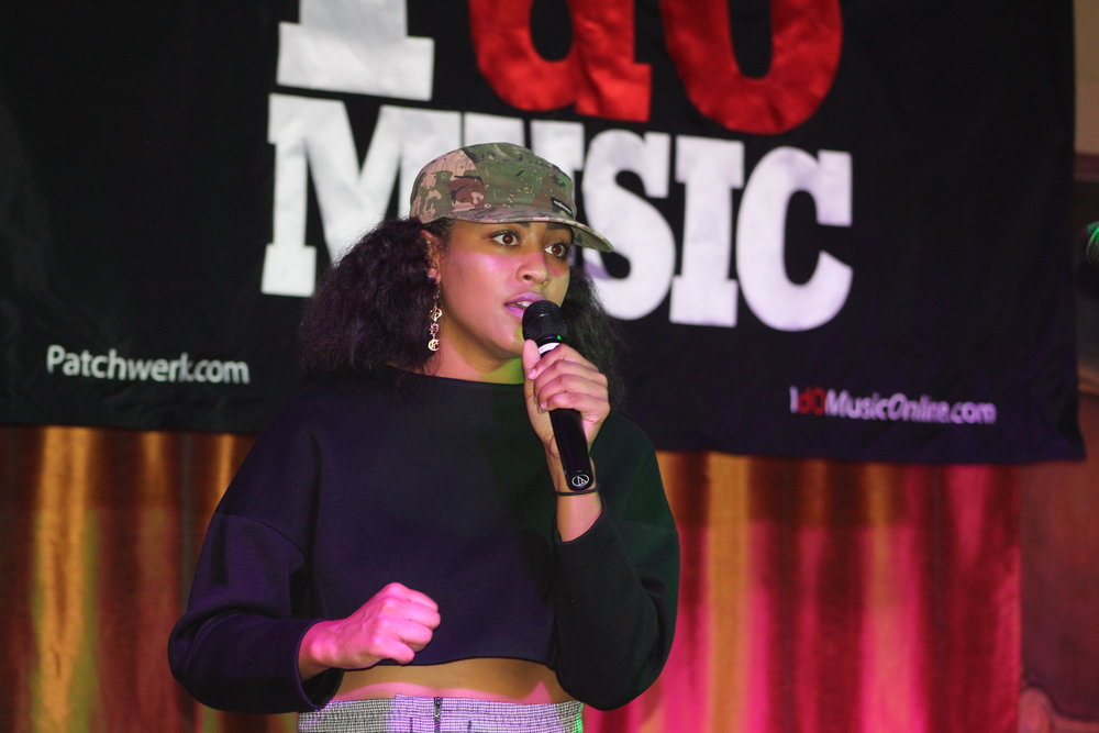 SammyApproved as she spoke during the IDoMusic showcase for Patchwerk Recording Studios at Apache Cafe. Photo taken by    @  chino.wdc  )