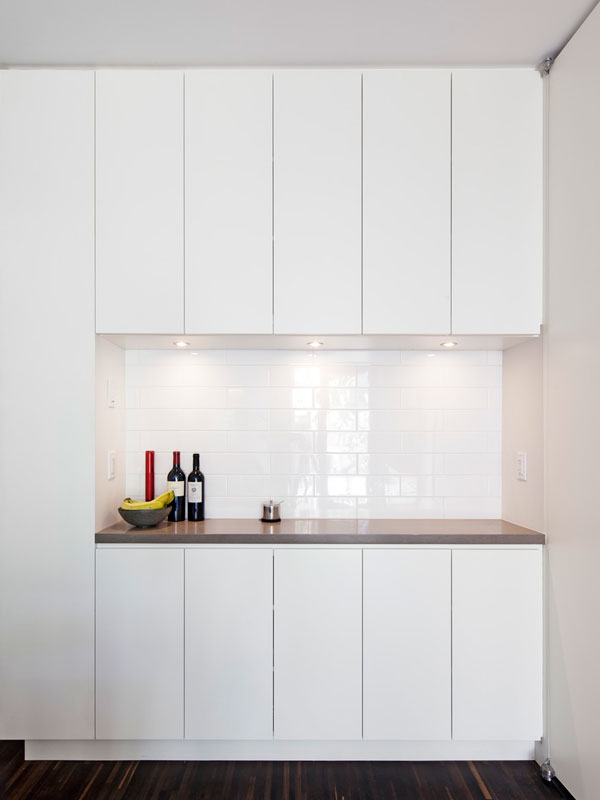 Custom Bar; Simple White Cabinetry