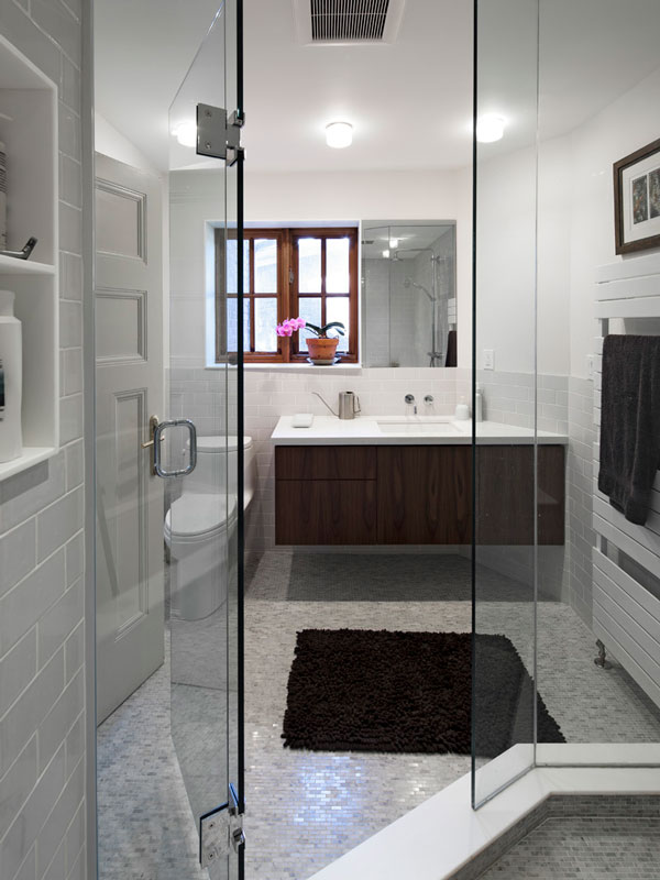 Master Ensuite; Walnut Vanity, Marble Mosaic Tiles and Walk in Shower