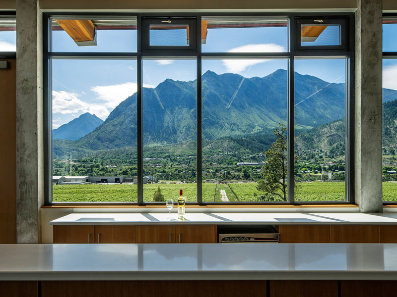 A significant effort was made to place the 1,300 sf tasting room in the most optimal position for providing a simple ease of access for visitors, the best view of the valley and vineyards, as well as providing aesthetically controlled glimpses of the winemaking functions.