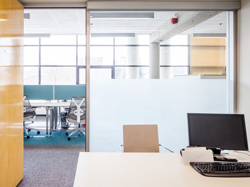 Private offices were moved into the plan allwoing access to natural light for all staff