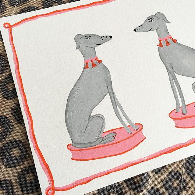 These guys are looking extra happy! #greyhound #dogs #dogsofinsta #prints #border #pinkandorange #tassels #statues #willaheart #instasale #chinoiserie #art #fineart #pink #preppy #fashiondog #glamourous #happy name these dogs and get a free print! #maybe if I like really really really like the name #xoxo