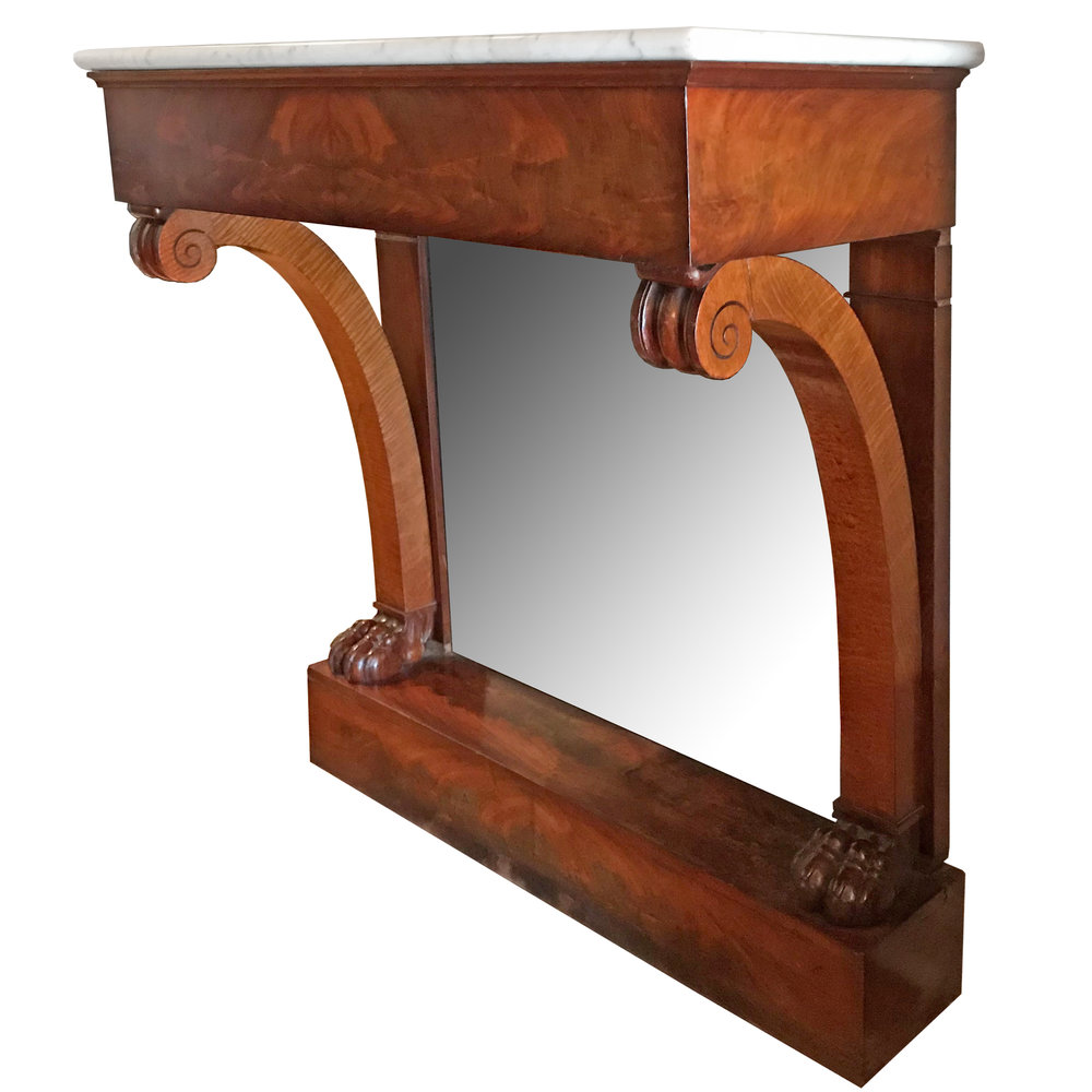 French Marble Top Pier Console Table