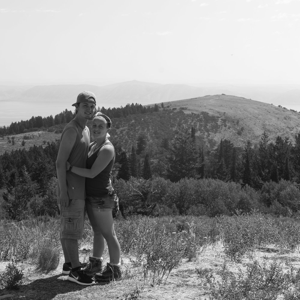 A black and white self-portrait of my girlfriend and I as we explored Wyoming over the summer of 2017 with my family.