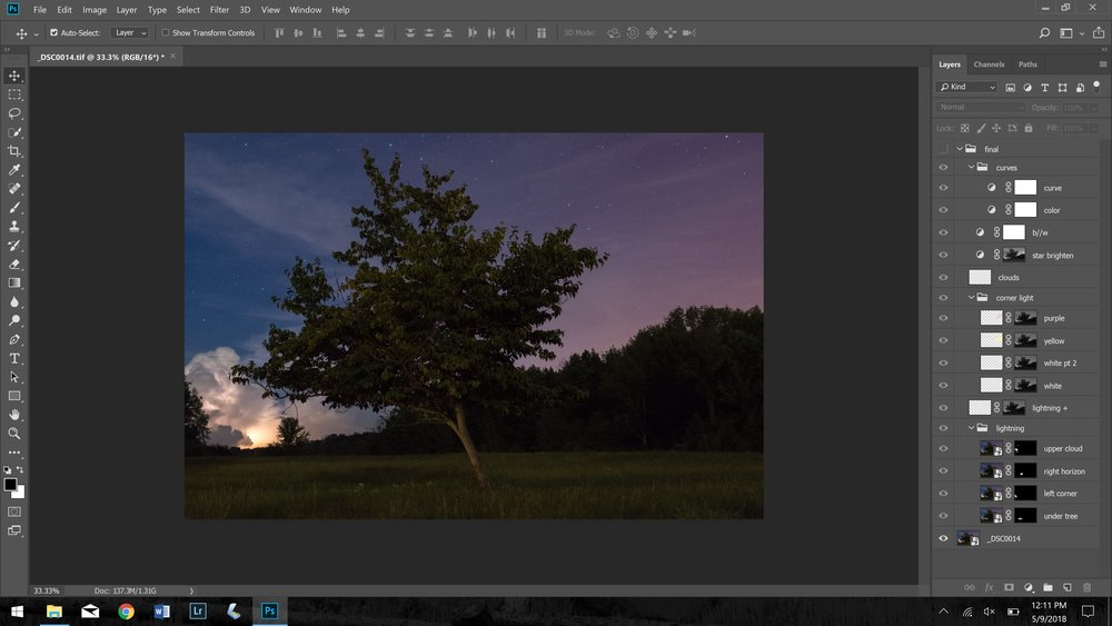 screenshot of Photoshop layers, all turned off - The Lightning Tree