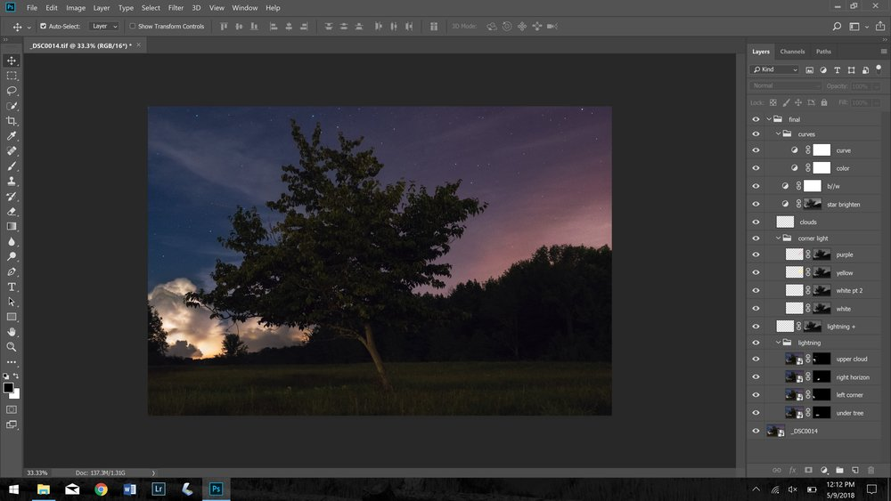 screenshot of Photoshop layers, all turned on - The Lightning Tree