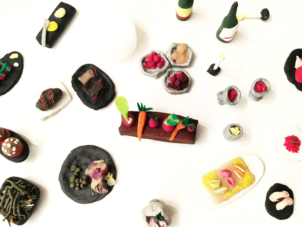 Inspired by a once-in-a-lifetime meal at Blue Hill Stone Barns, I created miniature food sculptures so I could savor the deliciousness forever. (Sculpy clay)