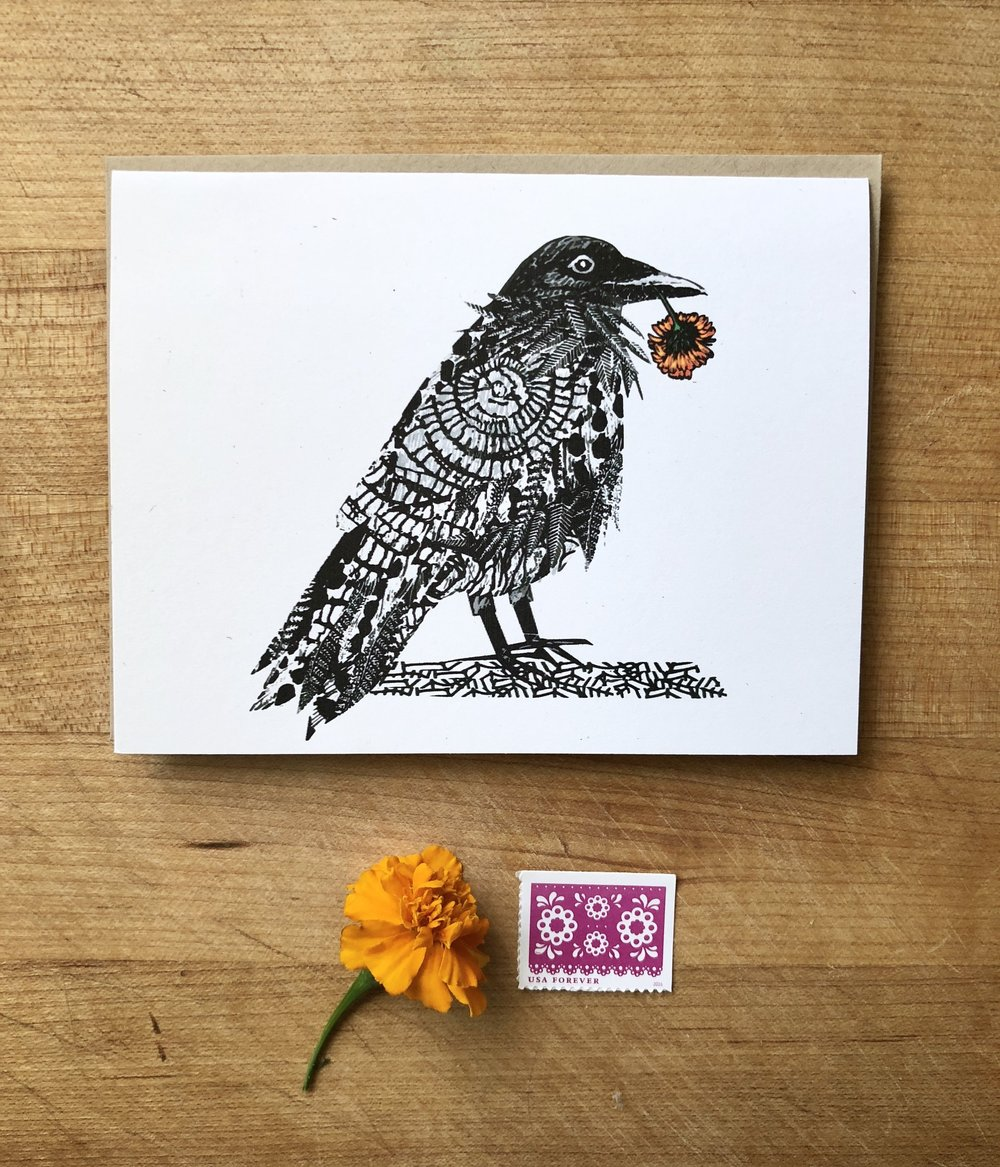 Raven and Marigold - A card for remembering. A card for honoring life. A card to hold messages of wisdom, hope and light.Read the story behind the card HERE.