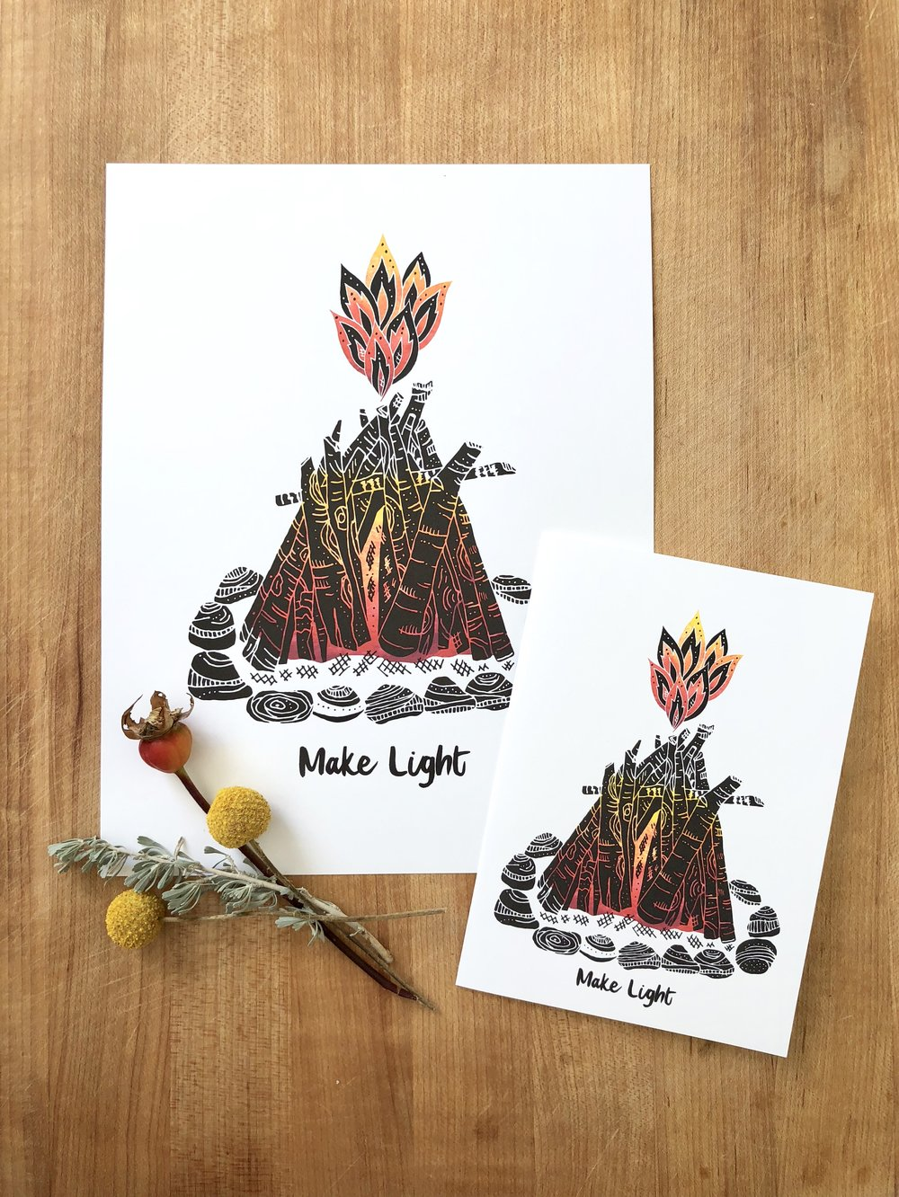 Make Light - Even in our darkest moments, we have the ability to Make Light. A single spark can grow and flourish into a glowing, warming flame. Make Light is a new winter offering. It is an invitation to cultivate hope, to allow that flicker of possibility to swell and radiate as generous warmth and light. Available as 5 X 7 cards and 8.5 X 11 archival prints.