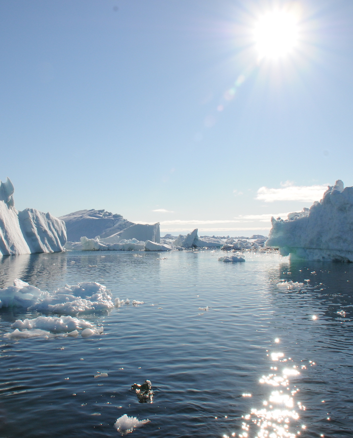 The spectacular ice fjords at Disko Bay, a UNESCO world heritage site