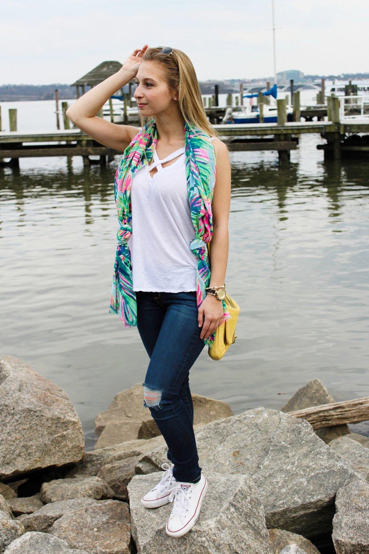 Shirt: Nordstrom Rack,  similar ; scarf: Lilly Pulitzer,  similar ; jeans: Carmar Denim,  similar ; sneakers:  Converse ; purse: Coach; sunglasses: Ray Ban