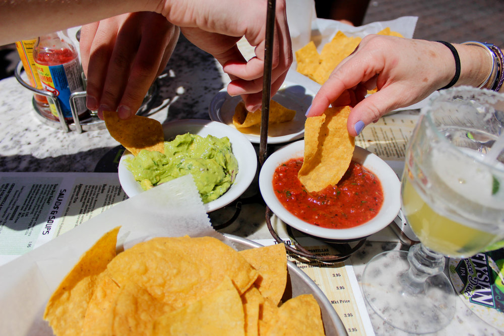 Guacamole, salsa and queso trio