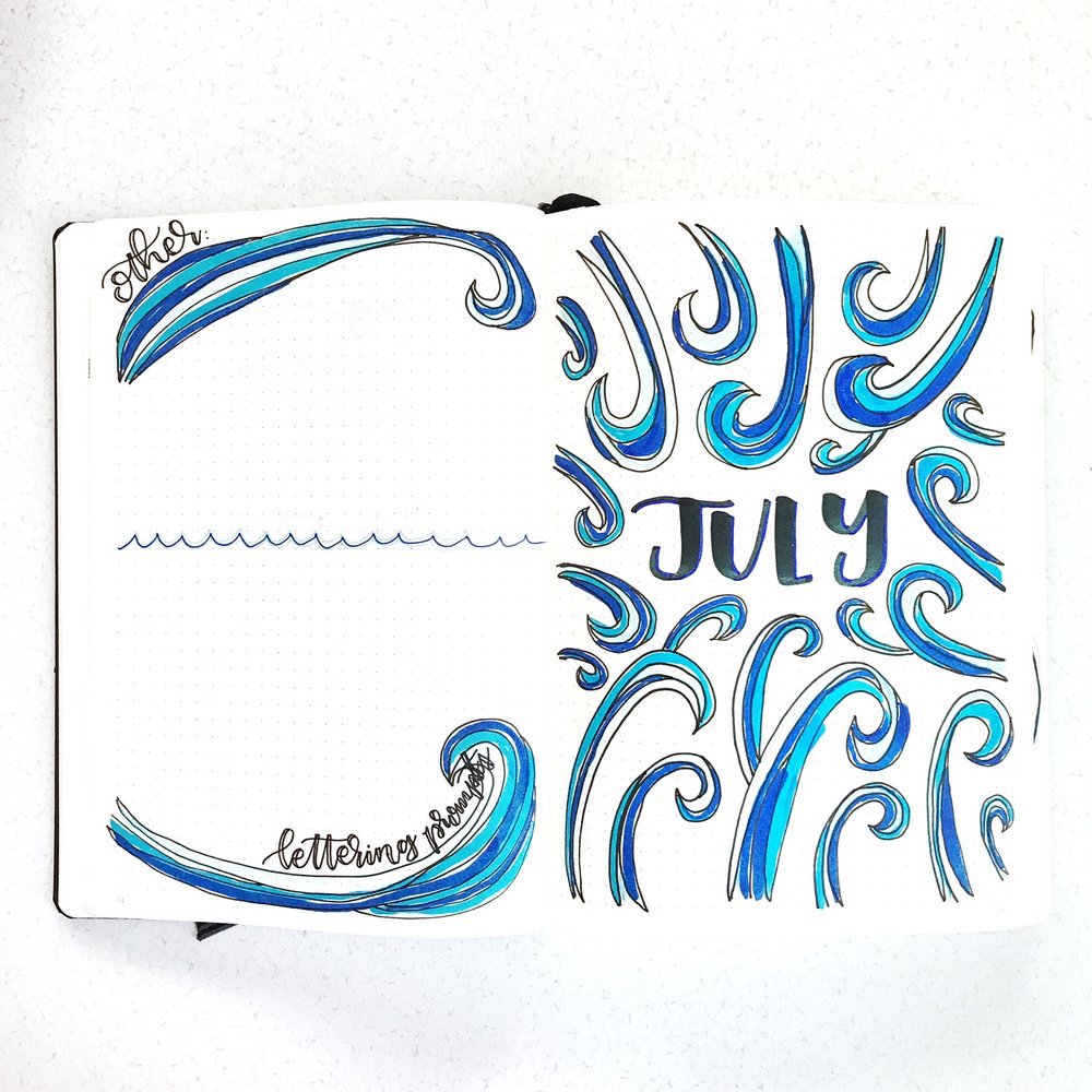 July 2017 -  Bullet Journal Spread. www.whitelilylettering.com